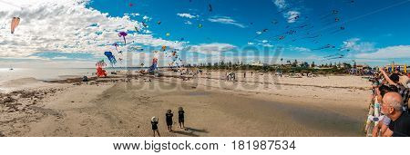 Adelaide Australia - April 15 2017: Adelaide International Kite Festival at Semaphore Beach. Event gathered together international kite flyers from Australia New Zealand and Malaysia