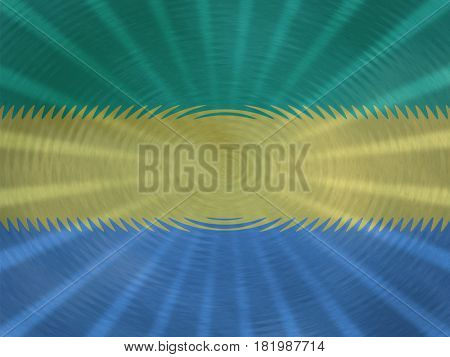 Gabon flag background with ripples and rays illustration