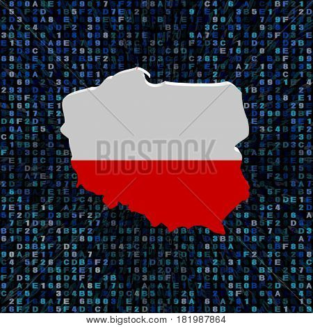 Poland map flag on hex code 3d illustration