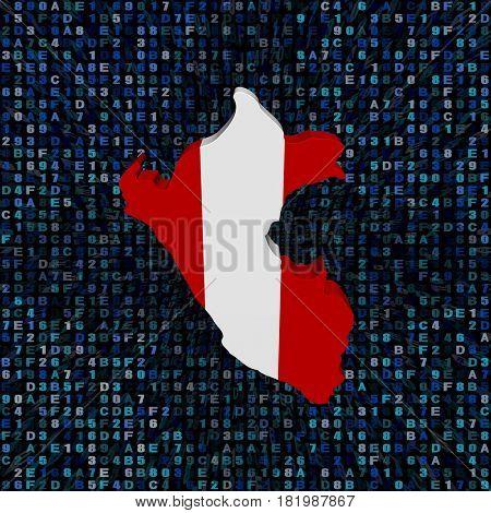 Peru map flag on hex code 3d illustration