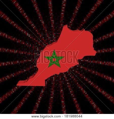Morocco map flag on red hex code burst 3d illustration