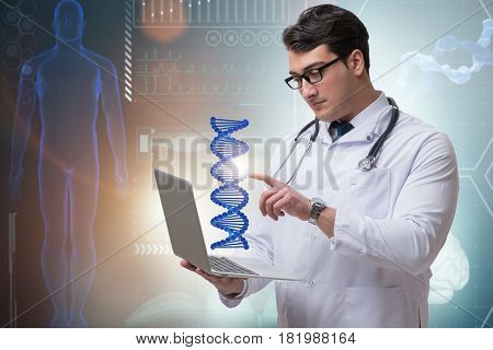 Young studentresearcher studying dna structure