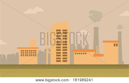 Collection of many industry on city vector illustration