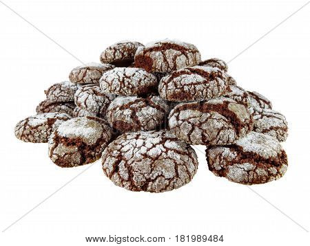 Chocolate Crackled Cookies isolated on white with Clipping Path