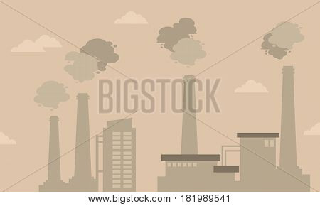 Pollution industry bad environment silhouettes vector illustration
