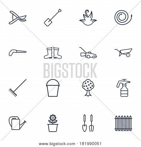 Set Of 16 Horticulture Outline Icons Set.Collection Of Secateurs, Plant Pot, Waterproof Shoes And Other Elements.