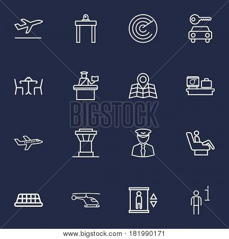 Set Of 16 Land Outline Icons Set.Collection Of Map, Control Tower, Business Class And Other Elements.