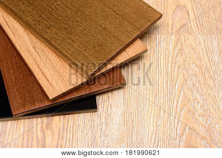 Set of samples of floorboard for an interior in room