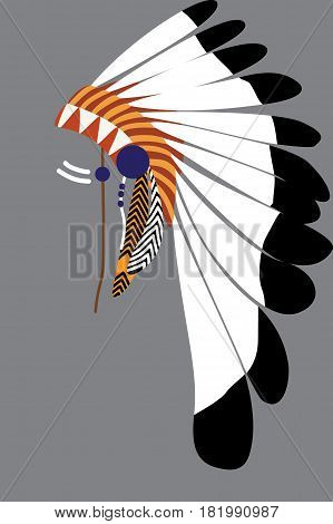 Native American Tribal Chief's Headdress From The  Feathers.
