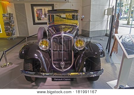 PARIS FRANCE - APRIL 1 2017: Renault Motor Show on the Champs Elysees. Renault Nervastella TG4 manufactured at 1932.