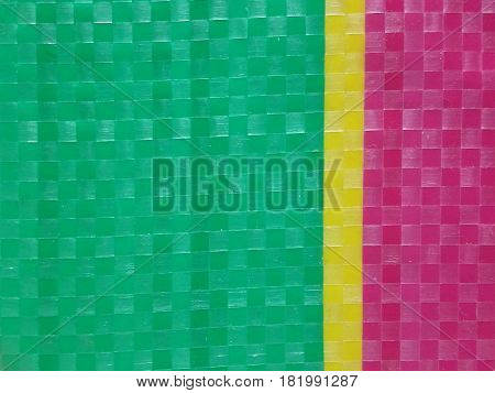Blur Sack color stripe background surface, summer color layer, color chessboard grid, green pink and yellow, majority green on left side