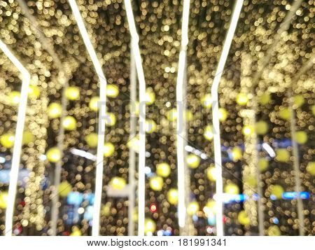Decorative blur outdoor backdrop string lights bulb hanging and yellow flower lights at night time - decorative christmas lights blur bokeh