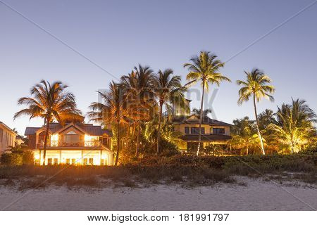 Naples Fl USA - March 19 2017: Beautiful waterfront villas in Naples illuminated at night. Florida United States