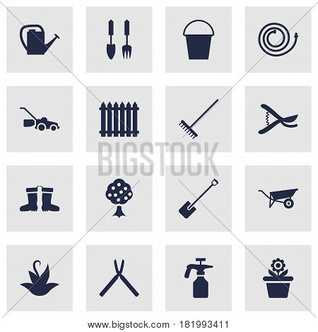 Set Of 16 Horticulture Icons Set.Collection Of Wheelbarrow, Bucket, Scissors And Other Elements.