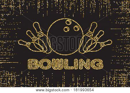 Bowling Pins Gold Color Lights Silhouette on Dark Background. Golden glitter texture.Vector illustration.