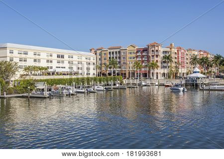 Bayfront buildings in the city of Naples. Florida United States