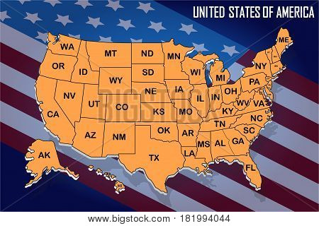 Poster map of United States of America with state names on the flag background. Orange print map of USA for t-shirt poster or geographic themes. Vector Illustration.
