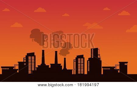 Pollution industry on orange background vector illustration
