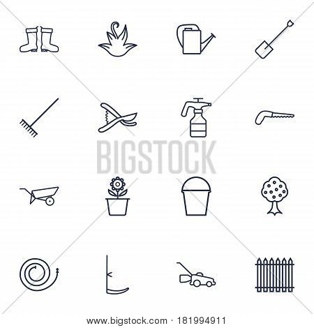 Set Of 16 Household Outline Icons Set.Collection Of Scythe, Herb, Waterproof Shoes And Other Elements.