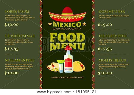 Mexican cuisine food restaurant menu vector template. Mexican restaurant menu with price, illustration of menu cartoon banner