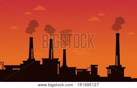 Pollution industry bad environment background vector illustration