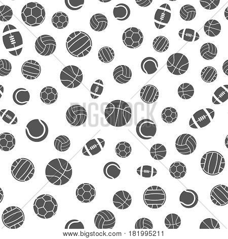 Sports balls vector seamless pattern. Background with football and soccer ball, illustration of design tennis ball