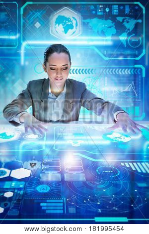 Woman analyst working with big data