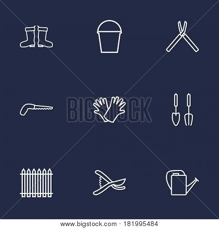 Set Of 9 Farm Outline Icons Set.Collection Of Shears, Secateurs, Safer Of Hand Elements.
