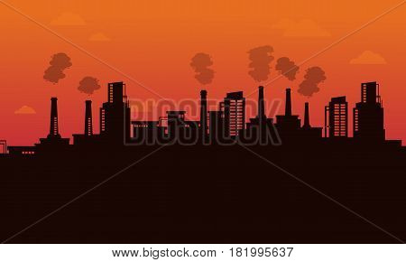 Silhouette of pollution industry backgroud vector illustration