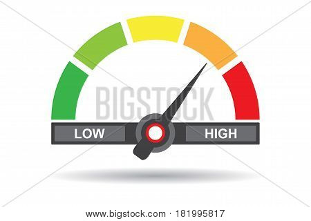 Speedometer flat icon. Sign colorful speedometer. Vector logo for web design, mobile and infographics.