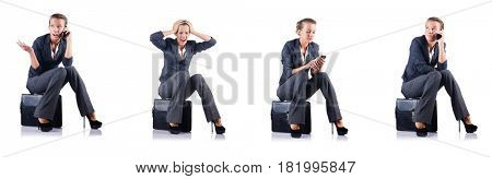 Young businesswoman isolated on white