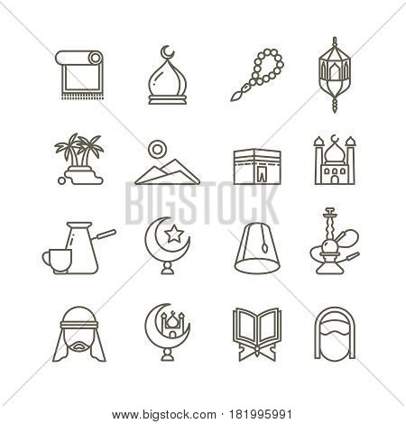 Islamic religion vector thin line icons. Set of religious islamic icons, illustration of oriental arabic islamic culture