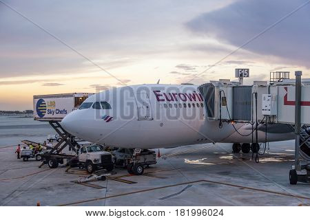 Miami Fl USA - March 24 2017: Eurowings airline Airbus A330-200 at the gate in Miami international airport. Florida United States