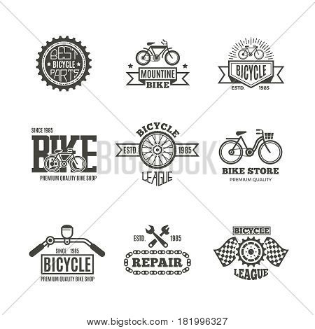 Bike shop, bicycle, biking vintage vector labels, logo, badges and emblems. Bike store and shop badge bicycle, part and repair illustration