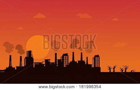 Industry wih pollution on orange background vector illustration