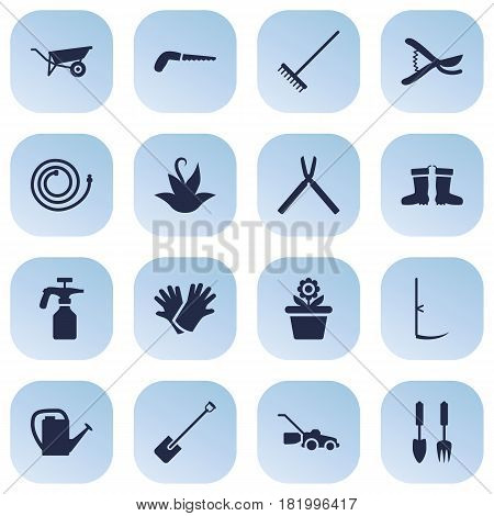 Set Of 16 Farm Icons Set.Collection Of Plant, Tools, Pruner And Other Elements.