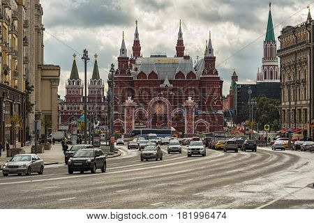 Russia Moscow - 24.09.2016: View of the building of the State Historical Museum from the side of Tverskaya Street
