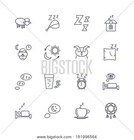 Sleeping icons isolated on white background. Relax and night rest vector signs. Relaxation and sleep in bedroom, illustration of dream and sleep pictogram