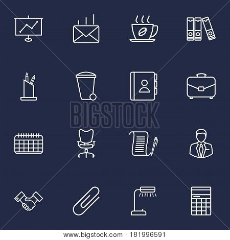 Set Of 16 Work Outline Icons Set.Collection Of Document Case, Telephone Directory, Portfolio And Other Elements.