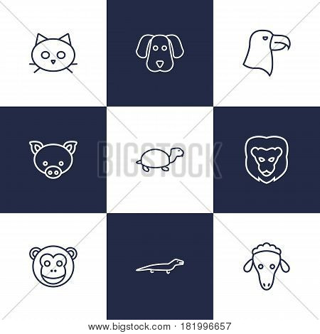 Set Of 9 Brute Outline Icons Set.Collection Of Eagle, Sheep, Lizard And Other Elements.