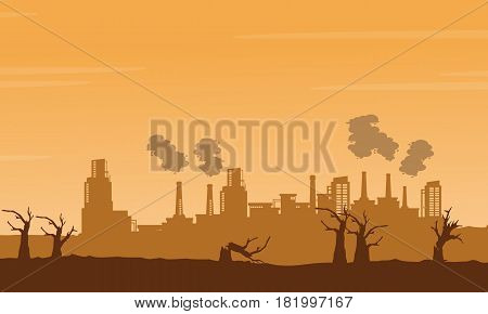 Bad environment with many industry background illustration