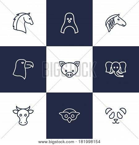 Set Of 9 Beast Outline Icons Set.Collection Of Elephant, Pig, Horse And Other Elements.