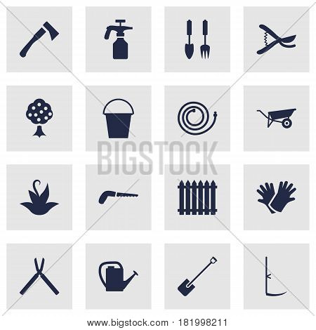 Set Of 16 Farm Icons Set.Collection Of Spray Bootle, Scissors, Wheelbarrow And Other Elements.
