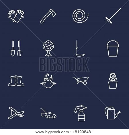 Set Of 16 Farm Outline Icons Set.Collection Of Plant Pot, Hatchet, Atomizer And Other Elements.