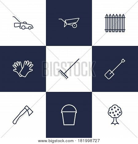 Set Of 9 Household Outline Icons Set.Collection Of Harrow, Pail, Barrow And Other Elements.