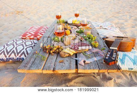 Top view beach picnic table. Beach party