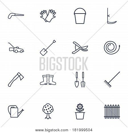 Set Of 16 Farm Outline Icons Set.Collection Of Firehose, Spade, Pail And Other Elements.