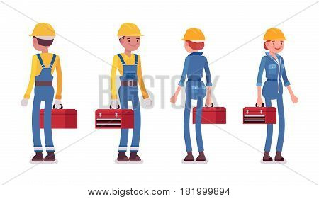 Set of male and female smiling professional worker in yellow protective hardhat, blue builder suit, holding red toolbox, front, rear view, isolated, white background
