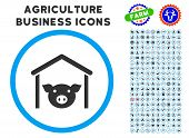 Pig Farm rounded icon with agriculture business icon clipart. Vector illustration style is a flat iconic symbol inside a circle, blue and gray colors. Designed for web and software interfaces. poster