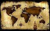 An Old World Map Background Illustration - Abstract poster